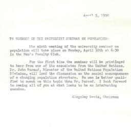Announcements, 1950-04-05. ...