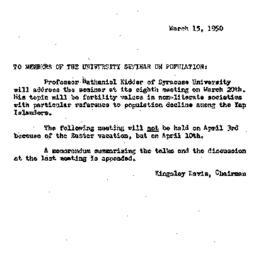 Announcements, 1950-03-15. ...
