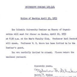 Announcements, 1953-04-07. ...