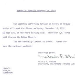 Announcements, 1952-12-02. ...