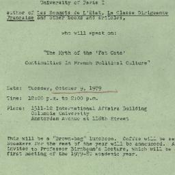 Announcements, 1979-10-09. ...