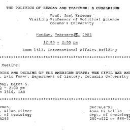 Announcements, 1985-02-25. ...