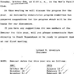 Announcements, 1964-10-06. ...