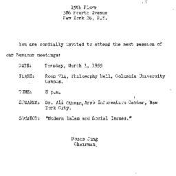 Announcements, 1955-03-01. ...