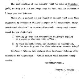 Announcements, 1960-12-07. ...
