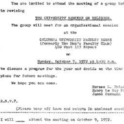 Announcements, 1972-09-22. ...