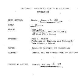 Announcements, 1977-01-09. ...