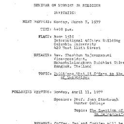 Announcements, 1977-03-07. ...