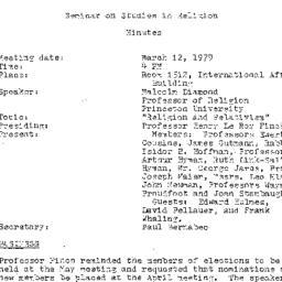 Minutes, 1979-03-12. Studie...