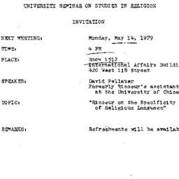 Announcements, 1979-05-14. ...