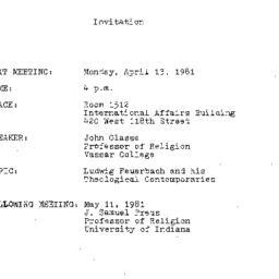 Announcements, 1981-04-13. ...