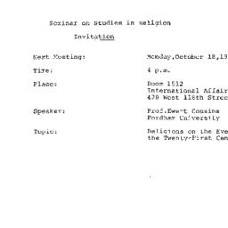 Announcements, 1982-10-18. ...