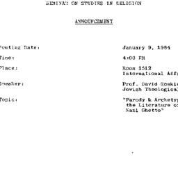 Announcements, 1984-01-09. ...