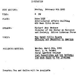 Announcements, 1985-02-04. ...
