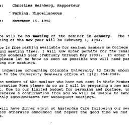 Announcements, 1992-11-15. ...