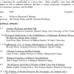 Schedules, Studies in Relig...