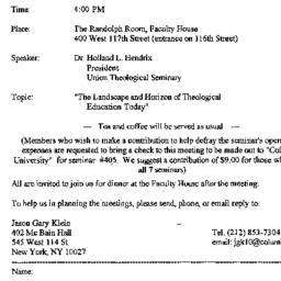 Announcements, 1996-12-09. ...