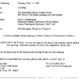 Announcements, 1998-05-11. ...