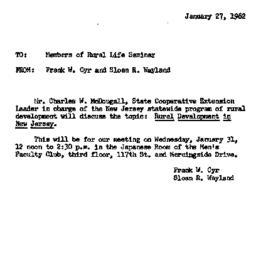 Announcements, 1962-01-27. ...