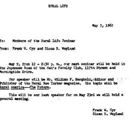 Announcements, 1962-05-03. ...