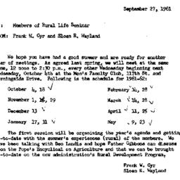 Announcements, 1961-09-27. ...