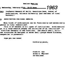 Announcements, 1963-02-20. ...
