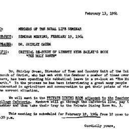 Announcements, 1964-02-13. ...