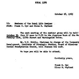 Announcements, 1963-10-28. ...