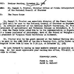Announcements, 1963-11-05. ...