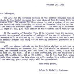 Announcements, 1961-10-30. ...