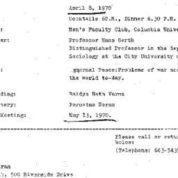 Announcements, 1970-04-08. ...