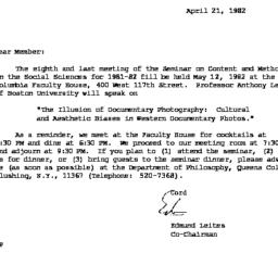 Correspondence, 1982-04-21....