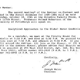 Correspondence, 1985-09-10....