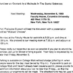 Announcements, 1989-11-08. ...
