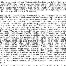 Minutes, 1954-10-13. Labor,...