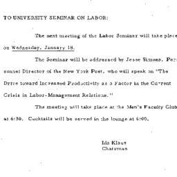 Announcements, 1961-01-18. ...