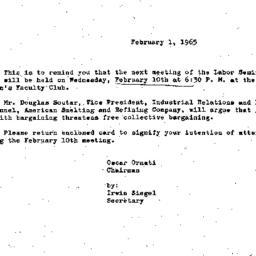 Announcements, 1965-02-01. ...