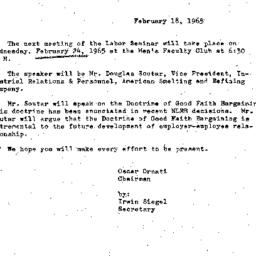 Announcements, 1965-02-18. ...