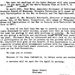 Announcements, 1965-04-14. ...