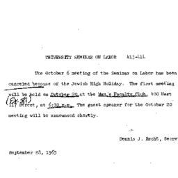Announcements, 1965-09-28. ...