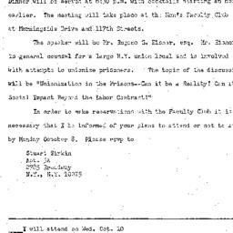 Announcements, 1973-10-10. ...