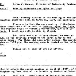 Announcements, 1979-03-21. ...