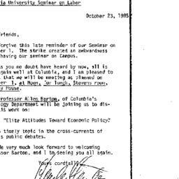 Announcements, 1985-10-23. ...