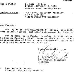 Announcements, 1988-10-31. ...