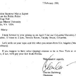 Correspondence, 1991-02-07....