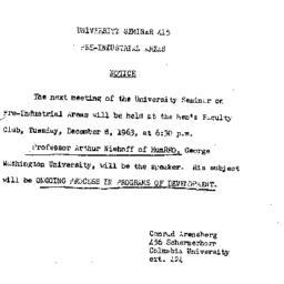 Announcements, 1963-12-08. ...