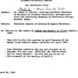 Announcements, 1969-04-08. ...