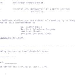 Announcements, 1971-05-04. ...