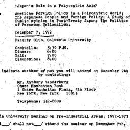 Announcements, 1972-12-07. ...