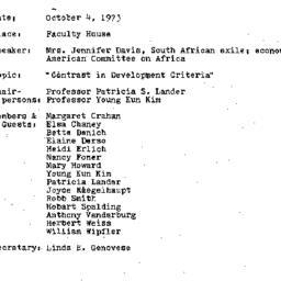 Minutes, 1973-10-04. Develo...